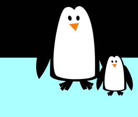 Pinguino protegido por su mamá